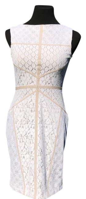 Item - White Lace and Cream Trim Marshalls Short Cocktail Dress Size 4 (S)