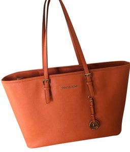 Michael Kors Leather Travel Tote in Orange