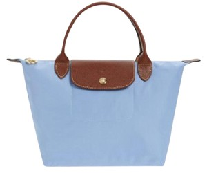 Longchamp Leather Tote in Blue mist