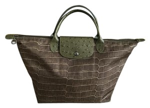 Longchamp Satchel in BROWN/MOSS GREEN