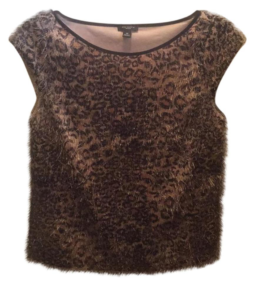 2019e3f1095a Ann Taylor Animal Print Feathered Jacquard Pale Camel (Black Brown ...