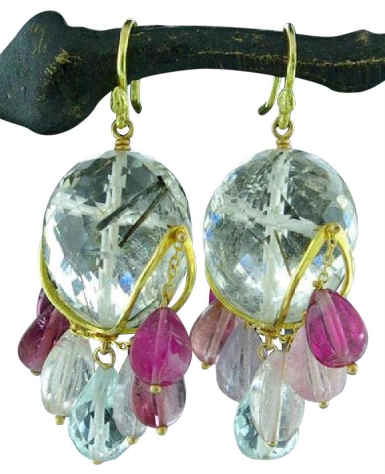 Gabrielle Sanchez 18k Yellow Gold Quartz And Pink Tourmaline Earrings
