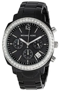 Michael Kors black ceramic Michael kors watch with rhinestones