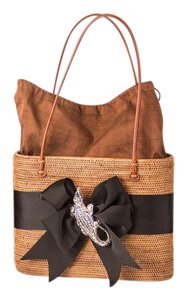 Bosom Buddy Bags Unique Chic Spacious Lightweight Handmade Balinese Tote in Straw Brown