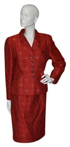 Louis Feraud LOUIS FERAUD Luxury Red Brocade Designer Vintage