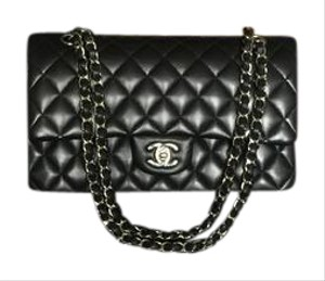 Chanel Black Lamb Skin Silver Classic Flap Medium Shoulder Bag