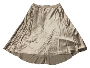 Talbots High Low Silk Silk Shimmery Skirt Brown
