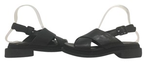 Robert Clergerie Low Heel Leather Slingback Buckle Black Leather Sandals