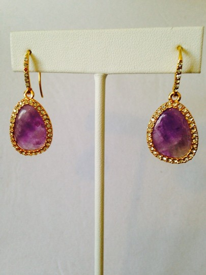Ralph Lauren Amethyst & Crystal Gold-Tone Teardrop Earrings