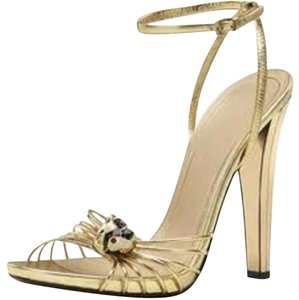 Gucci Lucille Tiger Mirror Gold Sandals