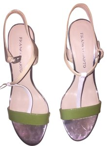 Franco Sarto Cream and green with silver trim Sandals