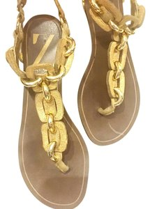Sergio Zelcer Gold, Brown Sandals