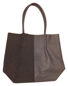 Sandwich Leather Suede Comfortable Tote in Gray