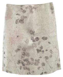 United Colors of Benetton Structured Wool Wool Blend Leaf Print Skirt Ivory