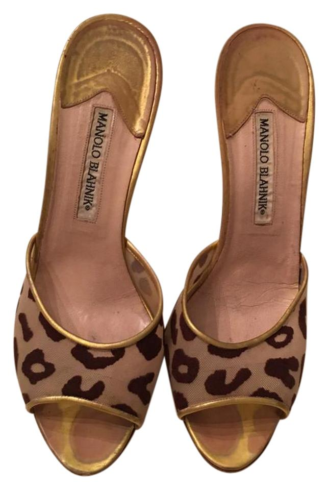 Manolo Blahnik Brown Raised and Gold Raised Brown Suede Leopard Prints Mules Sandals 56a1db