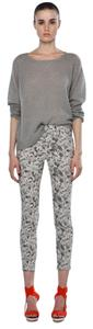 J Brand Grayscale Floral Skinny Jeans Capri/Cropped Pants Gray