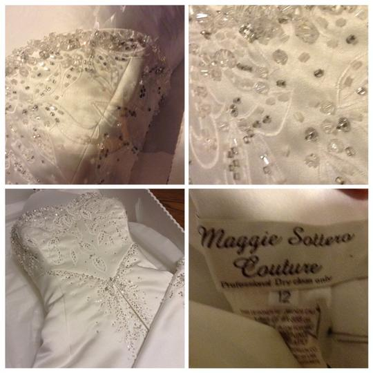 Maggie Sottero White Couture Gown Formal Wedding Dress Size 12 (L) Image 5