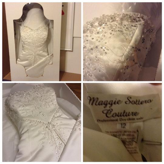 Maggie Sottero White Couture Gown Formal Wedding Dress Size 12 (L) Image 6