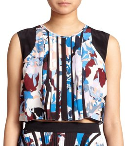 Elizabeth and James Luxury Silk Floral Keyhole Crop Top Multi Color