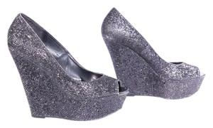 Charlotte Russe Peep Toe Sparkle Black Wedges