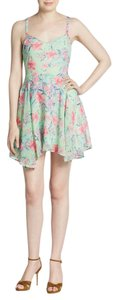 Love Sadie short dress Green Pink Sexy Tiered Pastel Lace Asymmetrical on Tradesy