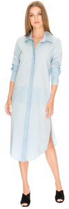 Finders Keepers Shirt Pockets Button Down Side Slits Loose Fit Dress