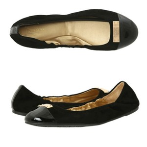 Coach Leather Designer Gold Black Leather Flats