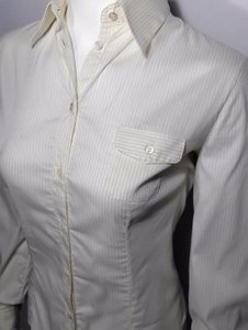 Armani Collezioni Button Down Shirt Ivory with Gray Pinstripe