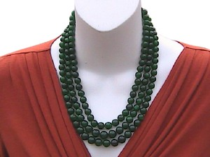 Other 3 Strand Earth Mined Rich Green Round Emerald Beads Necklace