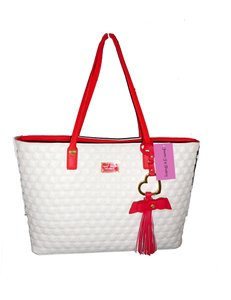 Betsey Johnson Red Trim Swag Quilting Tote in bone