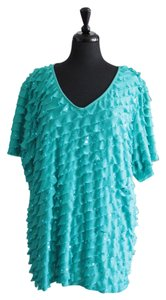 Essentials Boutique Plus-size Ruffle Sequin V-neck Short Sleeve Top Turquoise/Teal