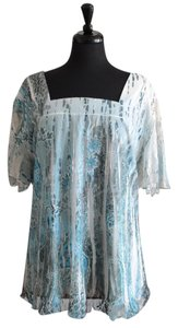Studio 1940 Plus-size Short Sleeve Lace Sheer Top Blue & White