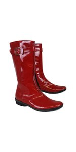 Aquatalia Red Patent Leather Rain Boots