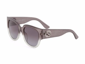Gucci NEW GUCCI SILVER GRAY GLITTER LOGO SQUARE SUNGLASSES