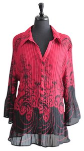 Studio 1940 Plus-size Flare Top Red & Black