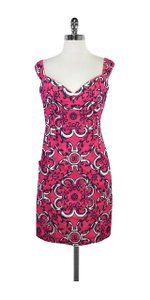 MILLY short dress Pink & White Print Cotton on Tradesy