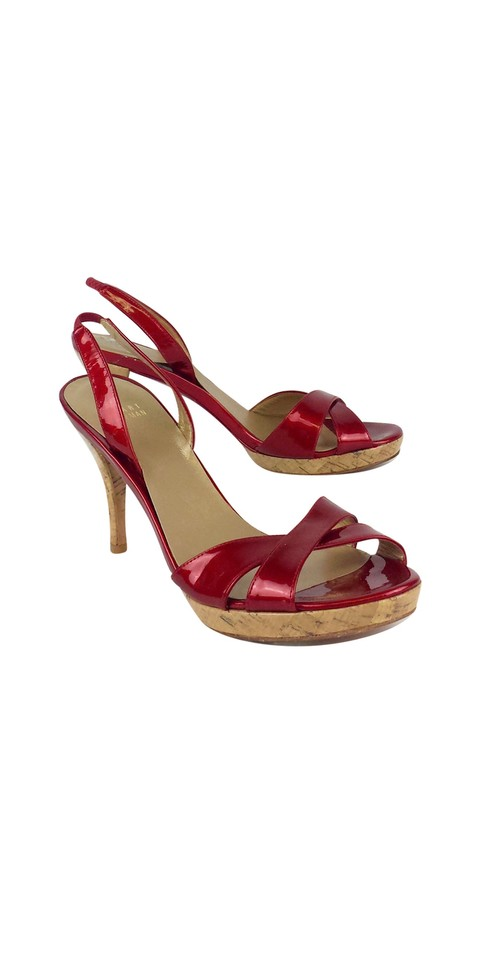Stuart Weitzman Leather Red Patent Leather Weitzman Slingback Heels Sandals ae2ae4