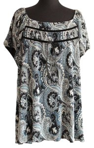Fashion Bug Paisley Velvet Short Sleeve Top Blue, Black & White