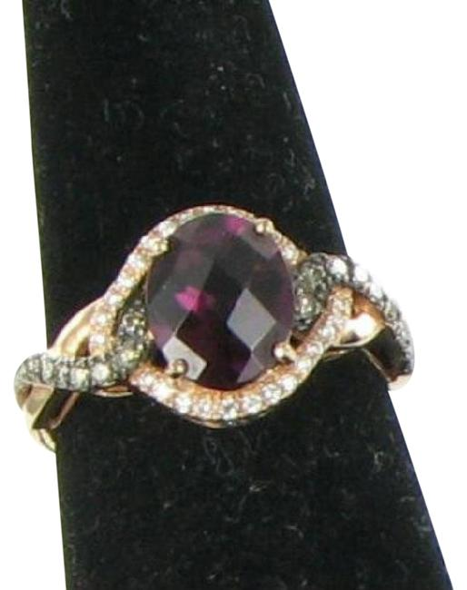 Item - Rhodolite Garnet Chocolate & Vanilla Diamond Rose Gold Choco Van 0.35cts 14k Ring