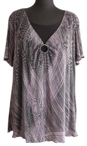 Essentials Boutique Top Purple, Black & White
