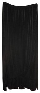 Chico's Fringe Hem Cross Front Machine Washable Maxi Skirt Black