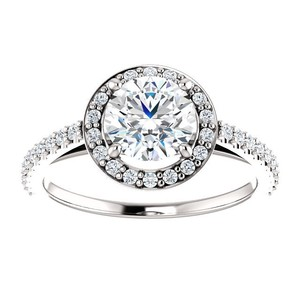 1.42 Ct D/si1 Round Diamond Solitaire Engagement Ring 14 K White Gold