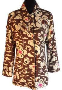 Chico's Tapestry Buttons Floral Brown Cream Pink Jacket