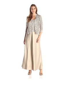 Alex Evenings Lace Charmeuse Jacket Two-piece Dress