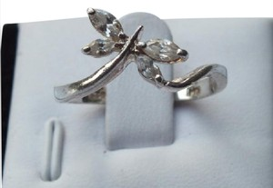 Other Butterfly Ring With Clear Pretty Stones Set in Sterling Silver