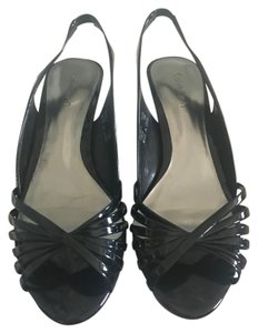 Calvin Klein Sandals Patent Leather Black Wedges