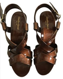 Charles David Sandal Patent Leather Studded Brown Wedges