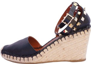 Valentino Leather Rockstud Studded Espadrille Black Wedges