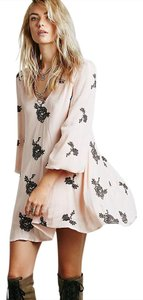 Free People short dress pink (peach) and grey Embroidered on Tradesy