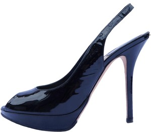 Dior Slingback Peep Toe Patent Leather Black Pumps